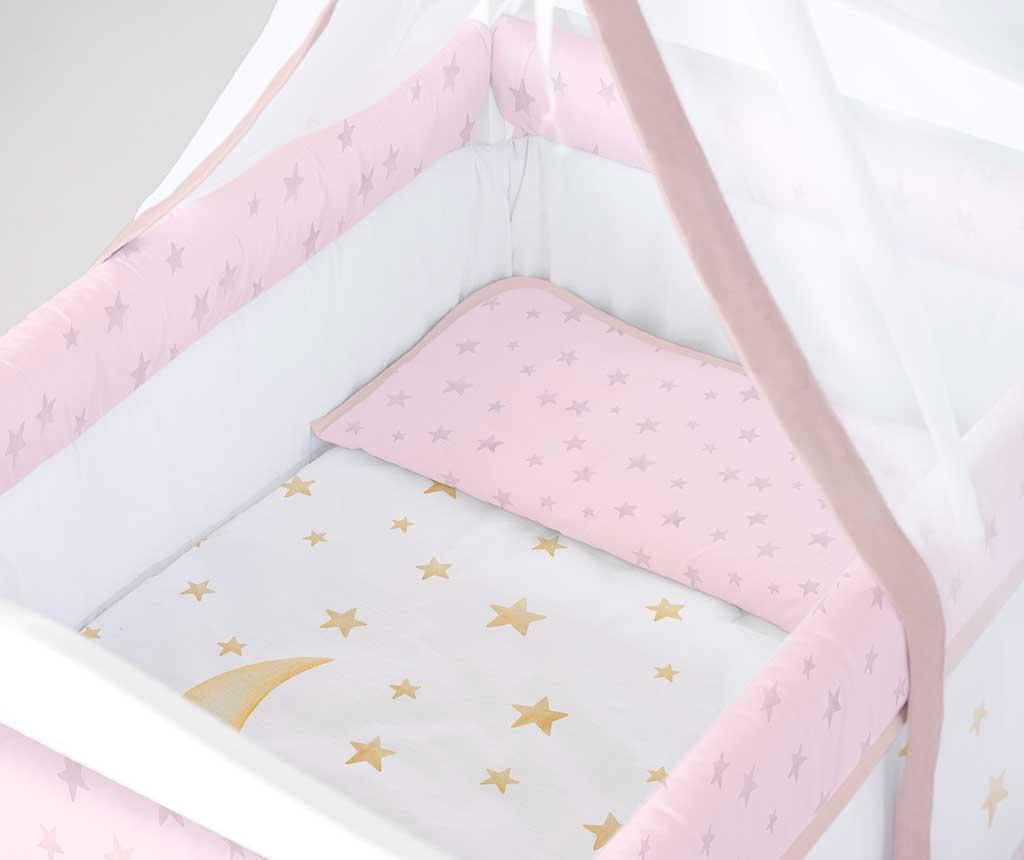 Set krevetić sa baldahinom i dodacima Marlon Night Square Pink