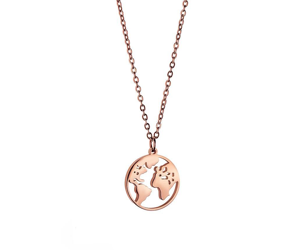 Lantisor cu pandantiv Globe Rose Gold