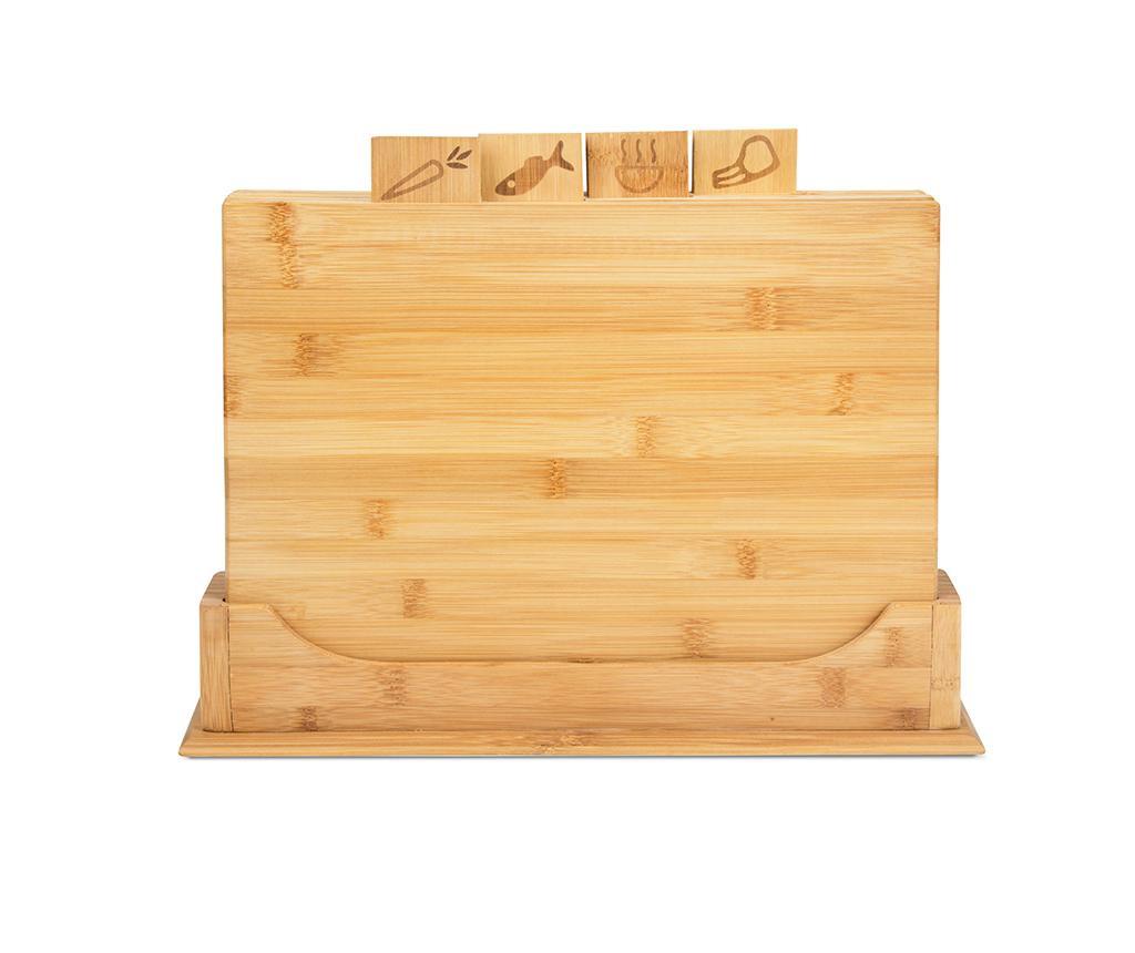 Set 4 tocatoare si suport Bambu Natural