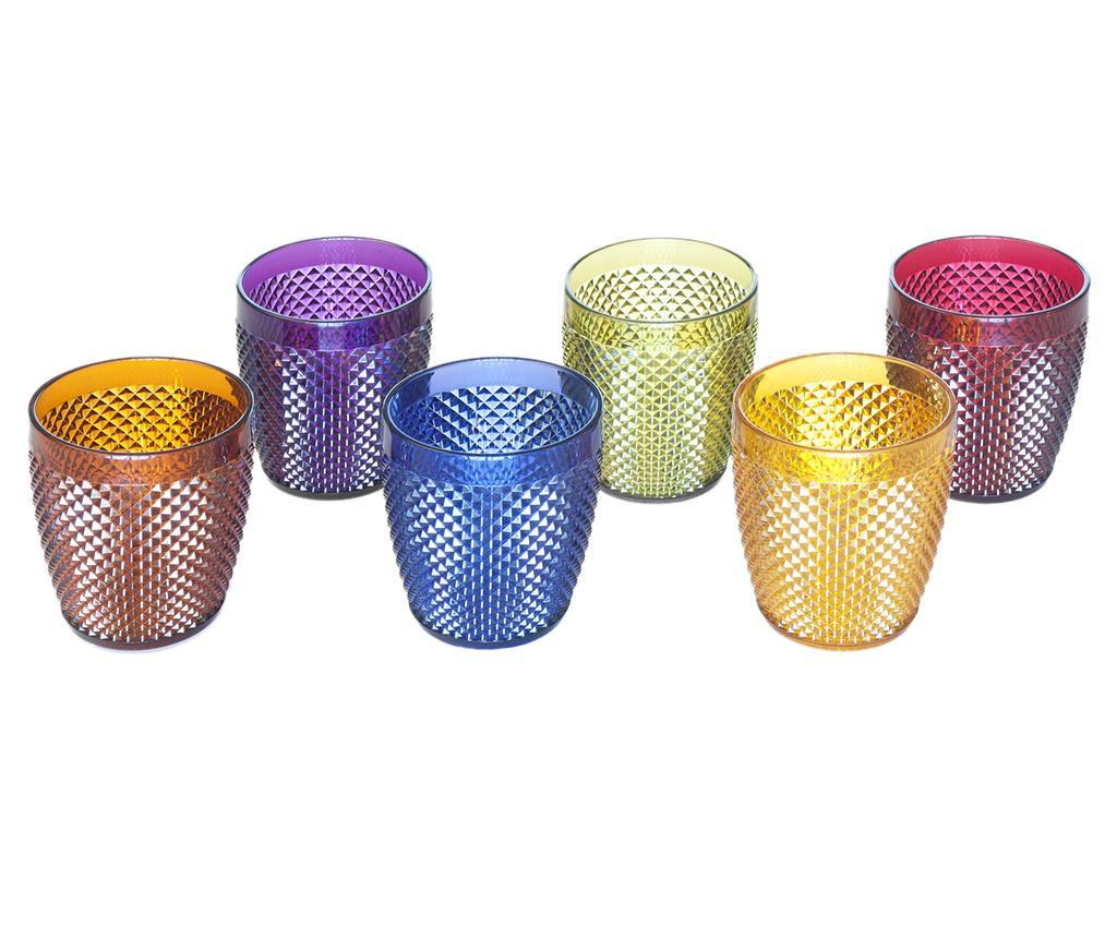 Zestaw 6 szklanek Diamond  Multicolor 400 ml