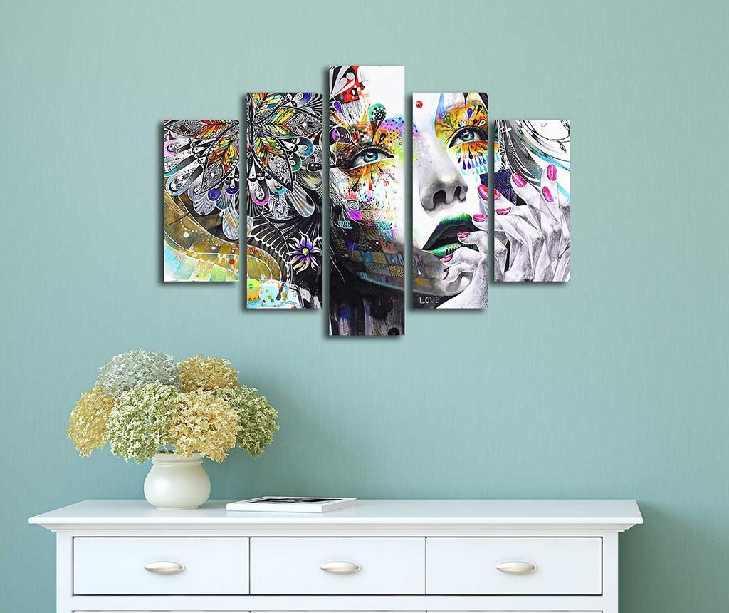 Set 5 slika Floral Face Art