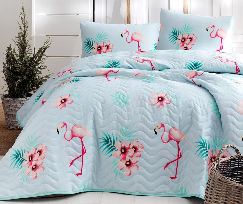 Set s posteljnim pregrinjalom Flamenco Mint