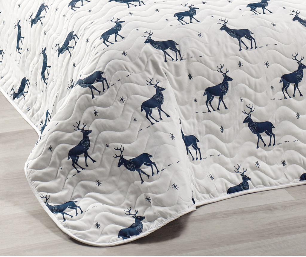 Set s posteljnim pregrinjalom Double Geyik Dark Blue White