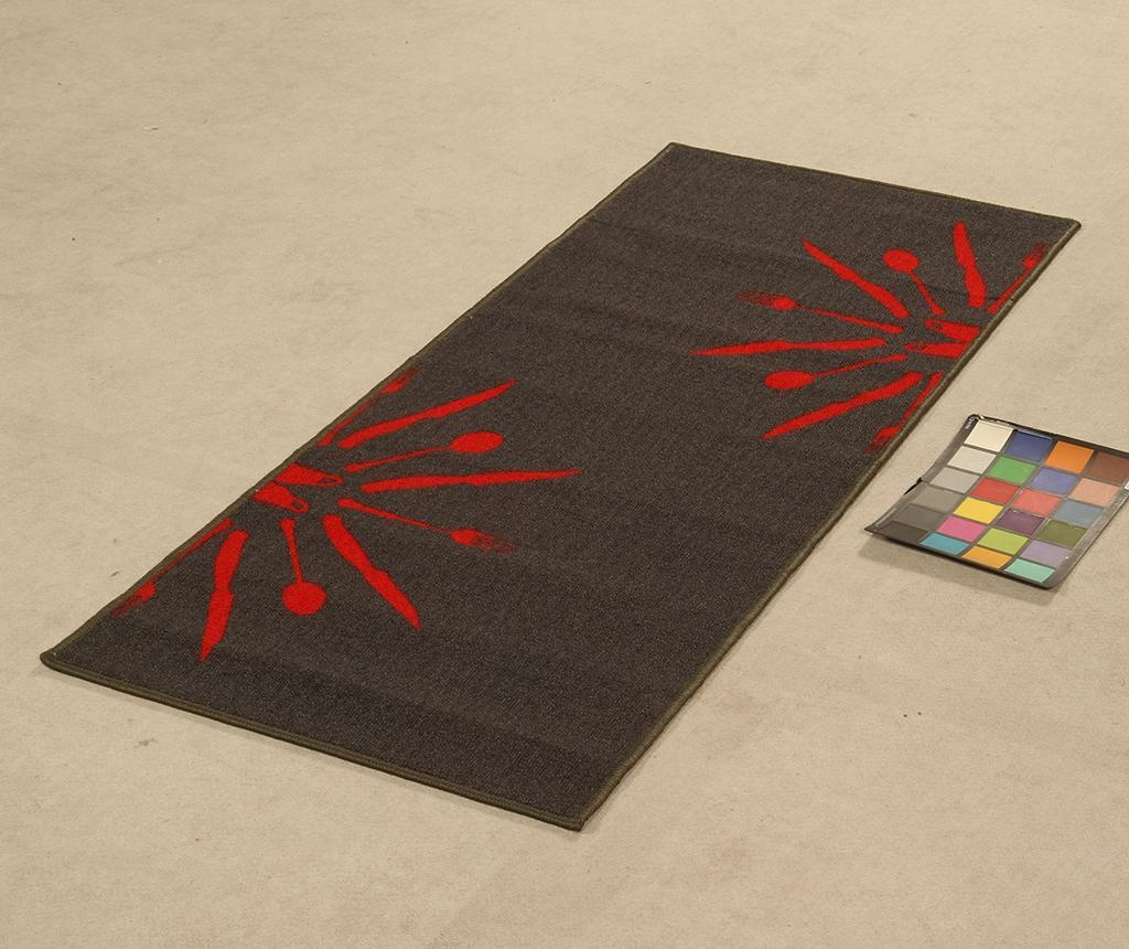 Koberec Dinner Grey Red 57x140 cm