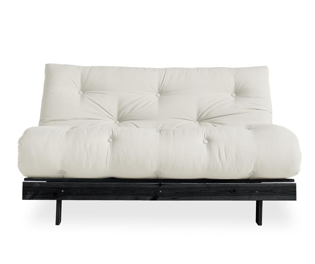 Sofa extensibila Roots Black & Natural 140x200 cm