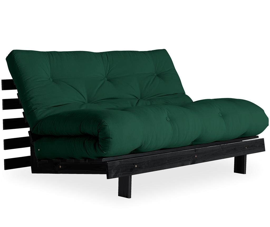 Sofa extensibila Roots Black & Forest Green 140x200 cm