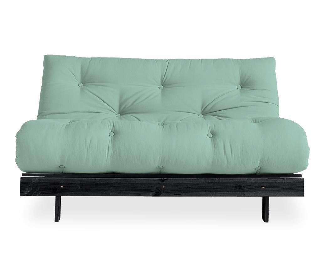 Sofa extensibila Roots Black & Mint 140x200 cm