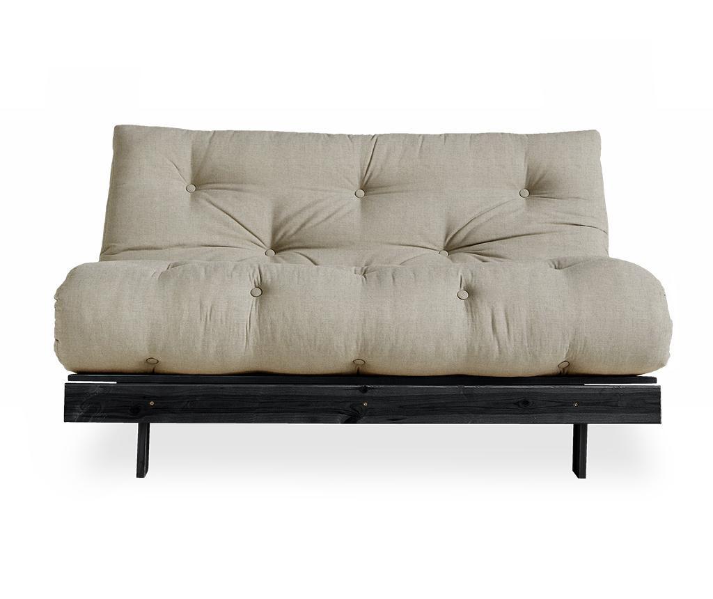 Разтегателен диван Roots Black & Linen Half 140x200 см
