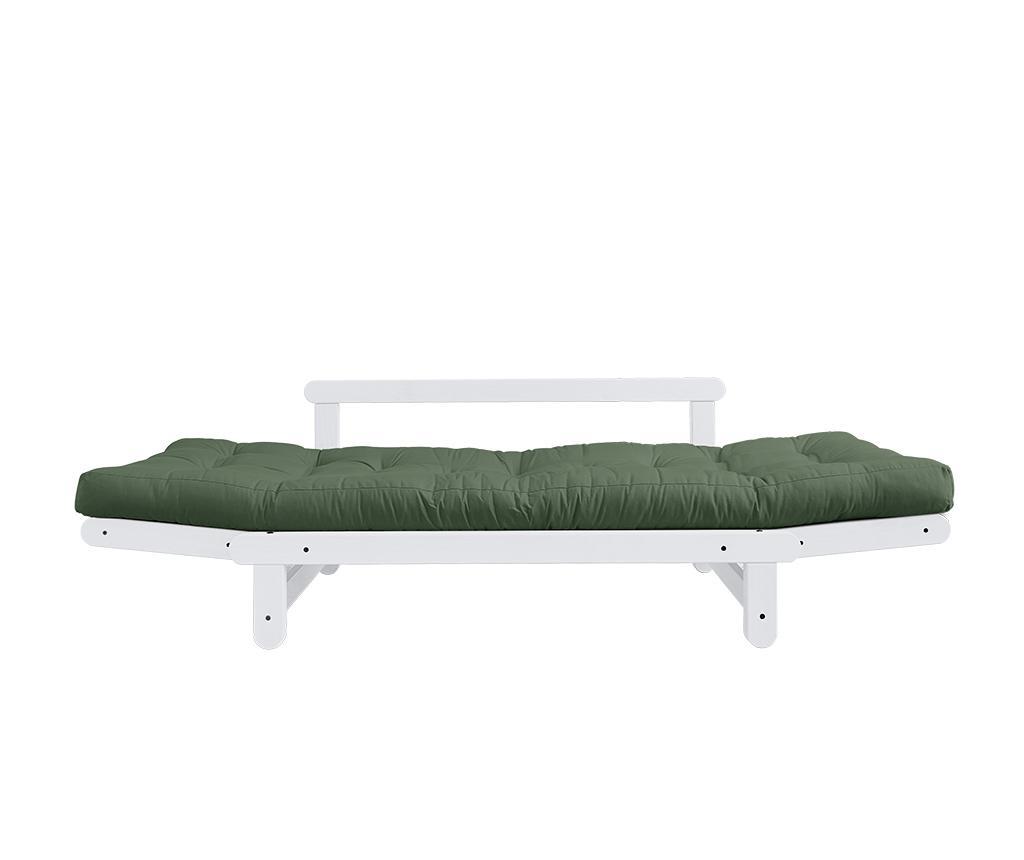 Sofa extensibila Beat White & Olive Green 75x200 cm