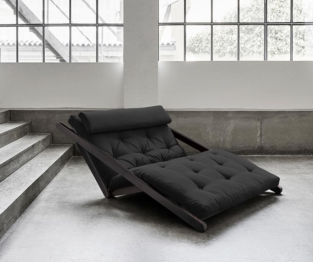 Figo Black & Dark Grey Kihúzható nappali heverő 120x200 cm