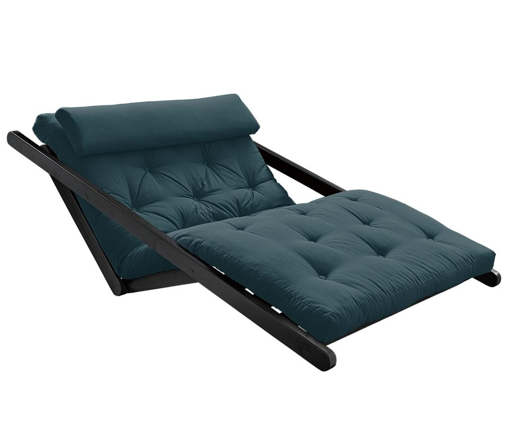 Figo Black & Petrol Blue Kihúzható nappali heverő 120x200 cm