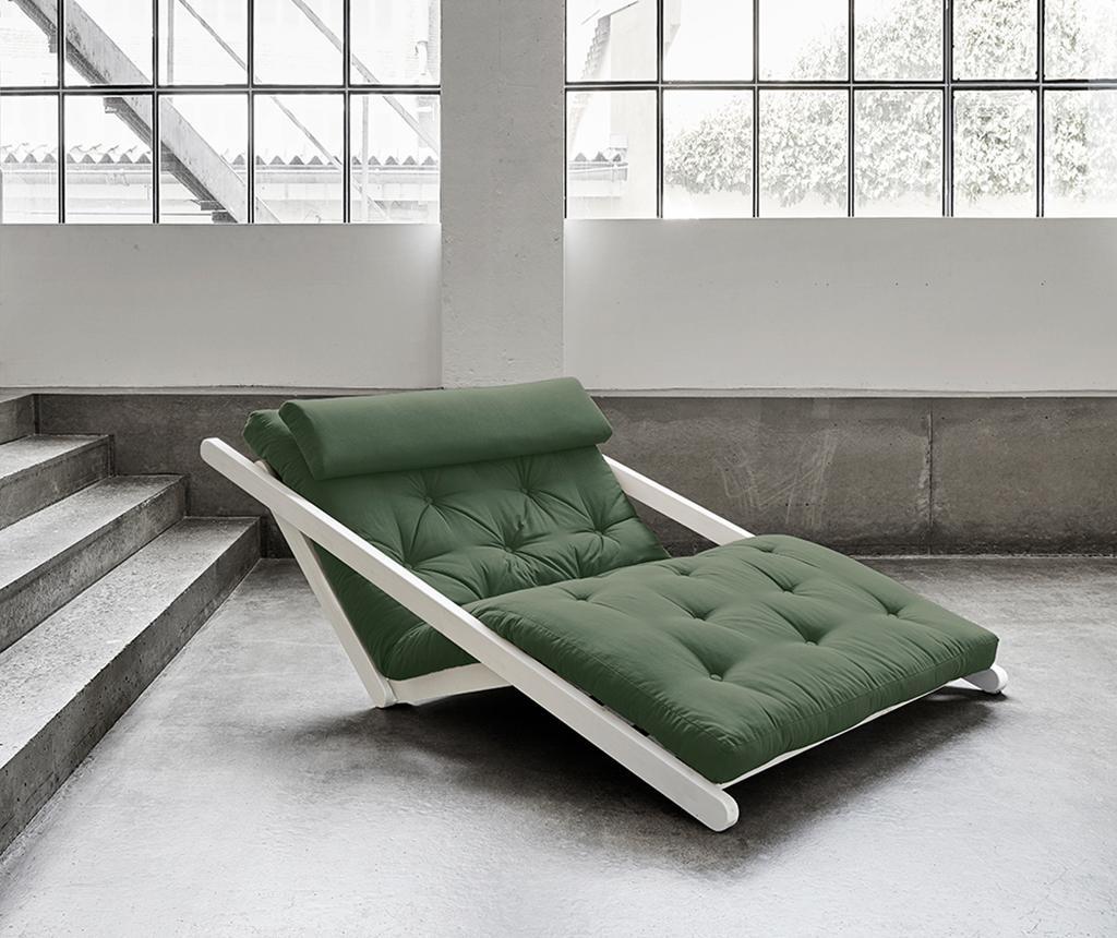Figo White & Olive Green Kihúzható nappali heverő 120x200 cm