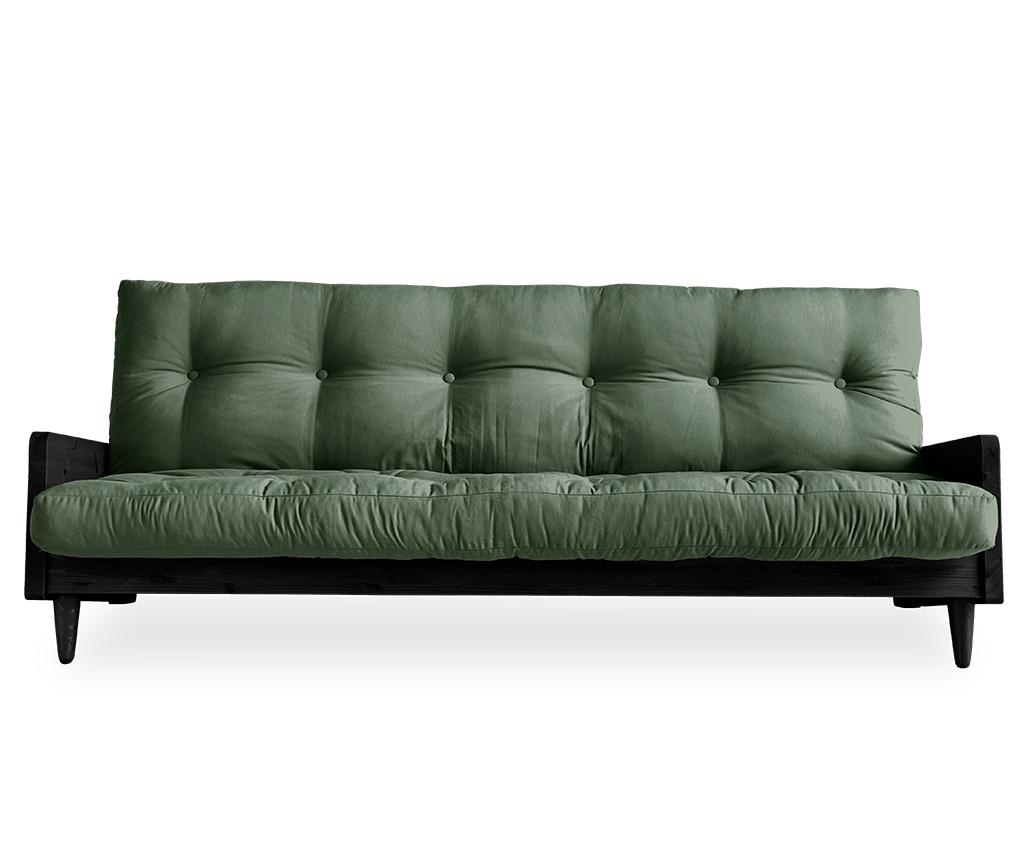 Sofa extensibila Indie Black & Olive Green 130x190 cm