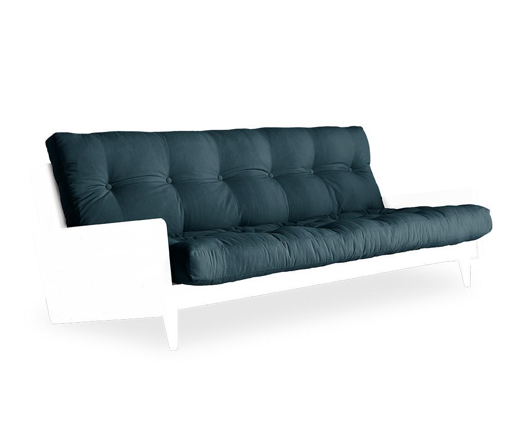 Kauč na razvlačenje Indie White & Petrol Blue 130x190 cm