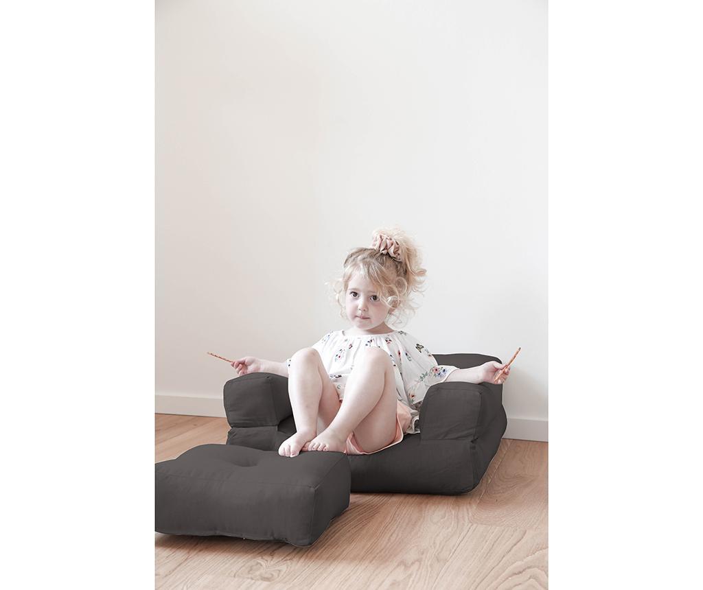 Fotoliu extensibil pentru copii Mini Cube Grey 60x135 cm