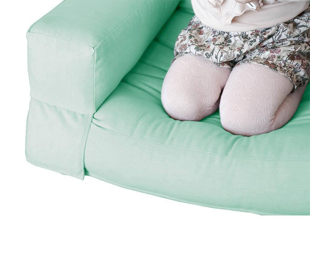 Fotoliu extensibil pentru copii Mini Hippo Peppermint 65x140 cm