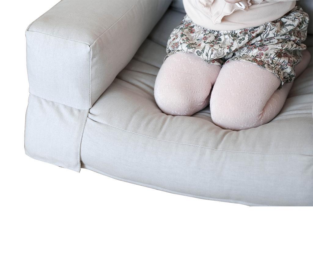 Raztegljiv otroški naslanjač Mini Hippo Light Grey 65x140 cm