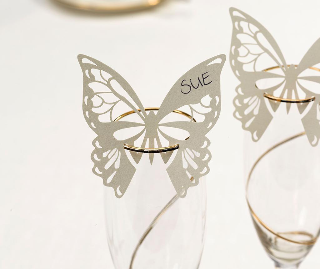 Set 10 oznak za kozarce Butterfly Ivory