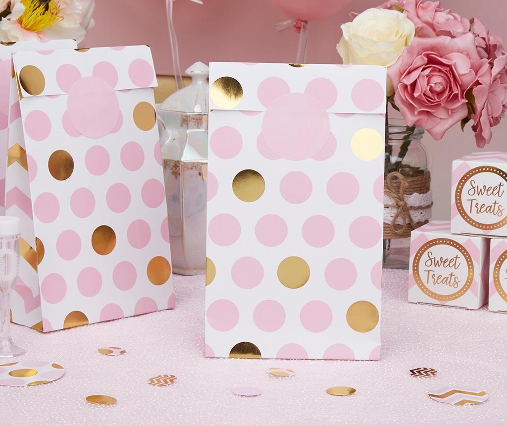 Set 5 poročnih ovojnic za svate Pattern Works Dots Pink