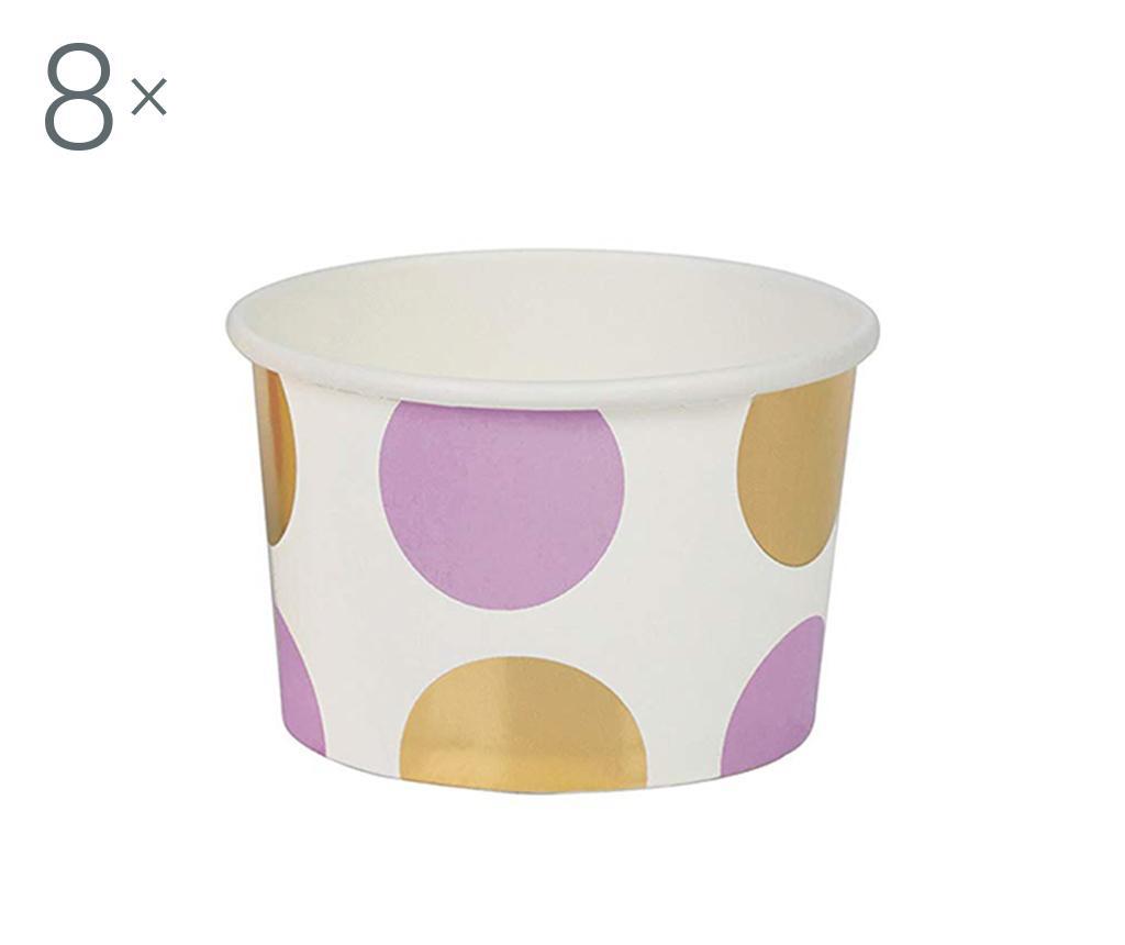 Set 8 skled za enkratno uporabo Pattern Works Lilac Dots