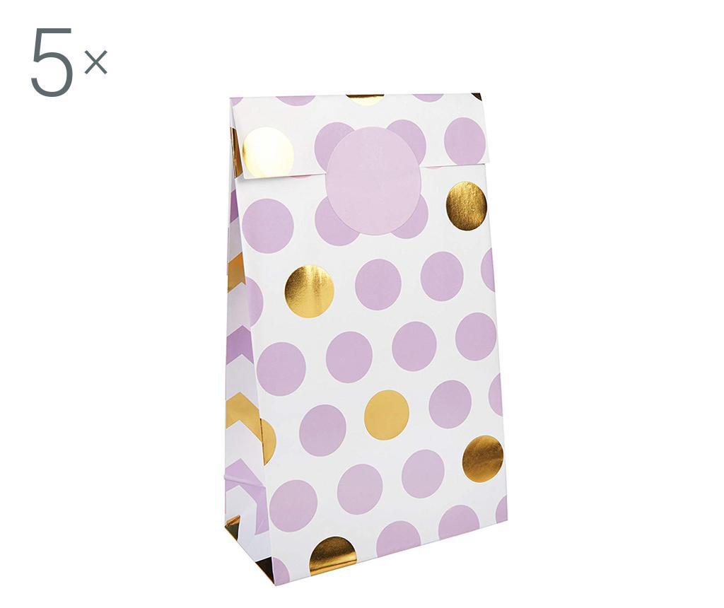Set 5 poročnih ovojnic za svate Pattern Works Dots Lilac