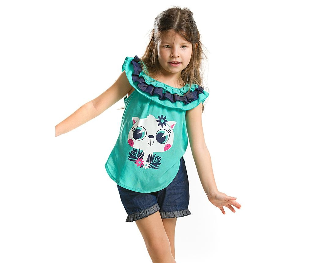 Set tricou fara maneci si pantaloni scurti pentru copii Turqouise Ruffled Denim 2 ani