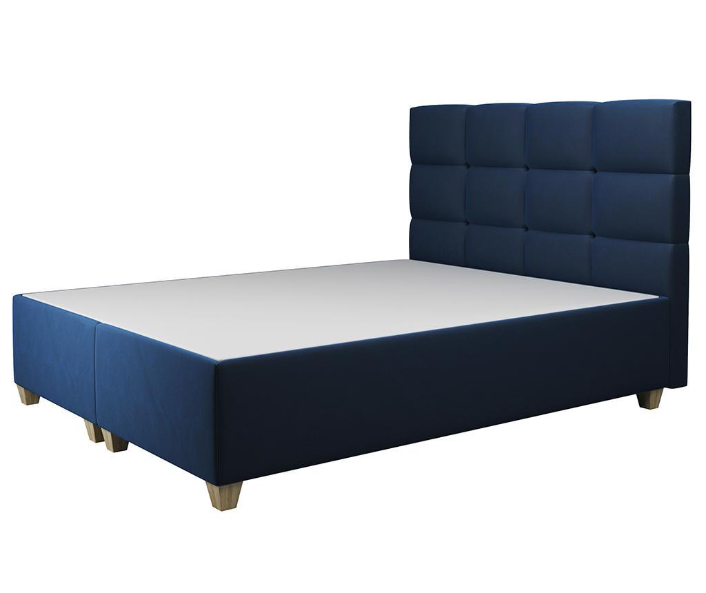 Postelja z dvižno oporo ležišča Italia Dark Blue 160x200 cm