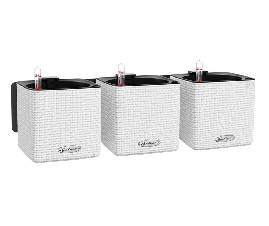 Set 3 ghivece cu sistem autoirigare si suport Wall Kit Color White