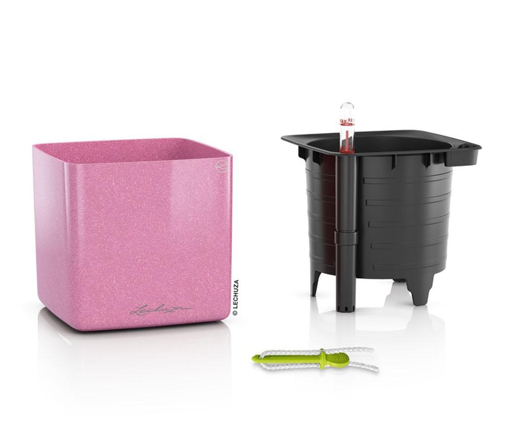 Set ghiveci cu sistem autoirigare si suport Cube Glossy Sweet Candy S