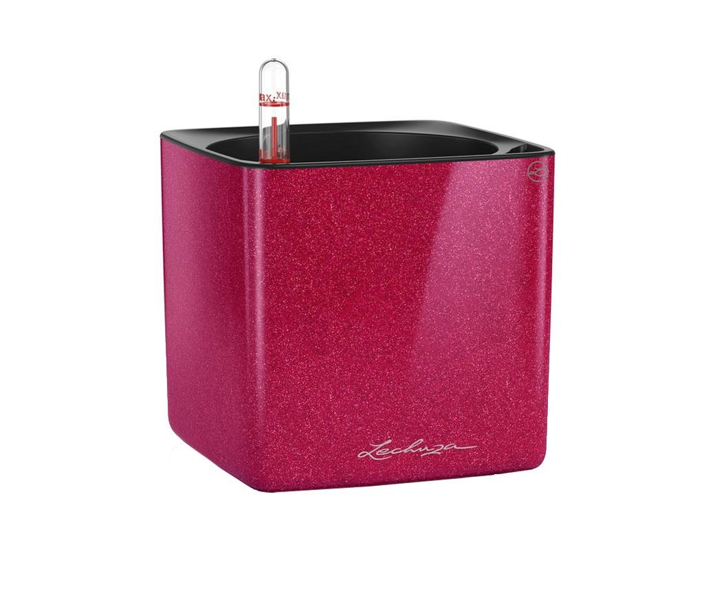 Set ghiveci cu sistem autoirigare si suport Cube Glossy Cherry Pie S