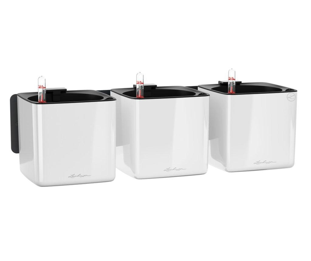 Set 3 ghivece cu sistem autoirigare si suport Wall Kit Glossy White