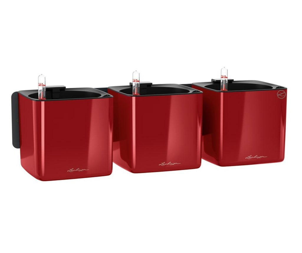Set 3 ghivece cu sistem autoirigare si suport Wall Kit Glossy Scarlet Red