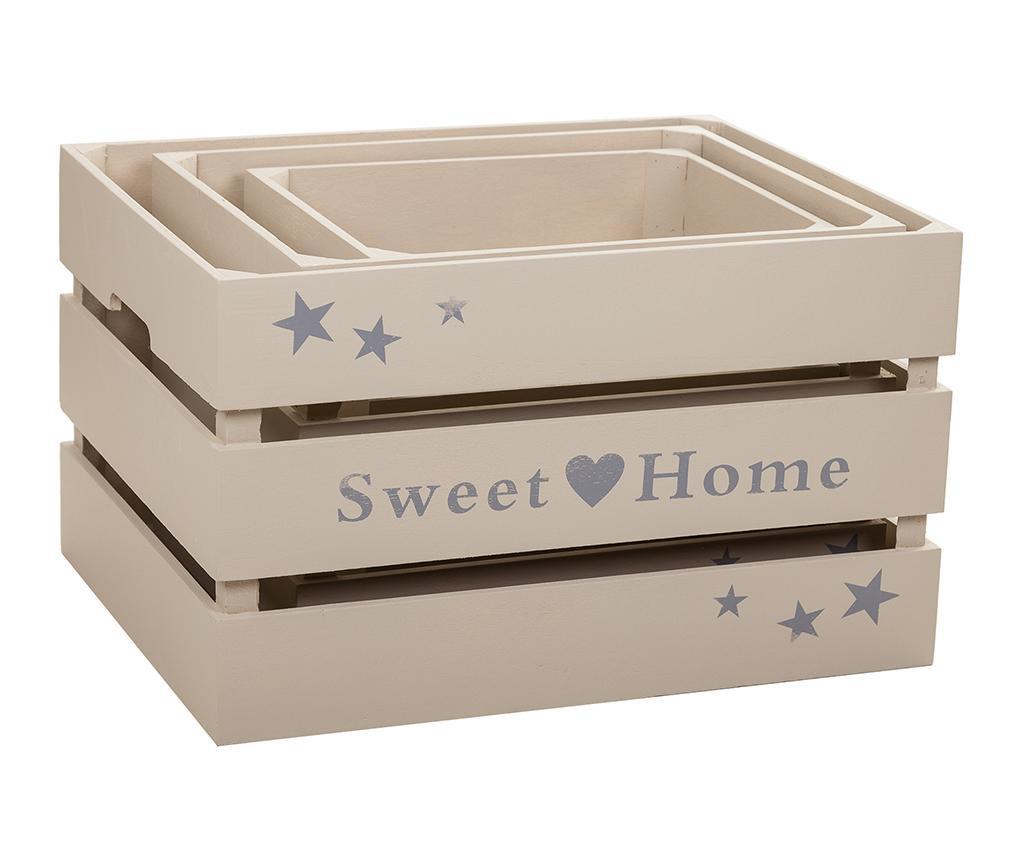 Set 3 lazi pentru depozitare Sweet Home Grey