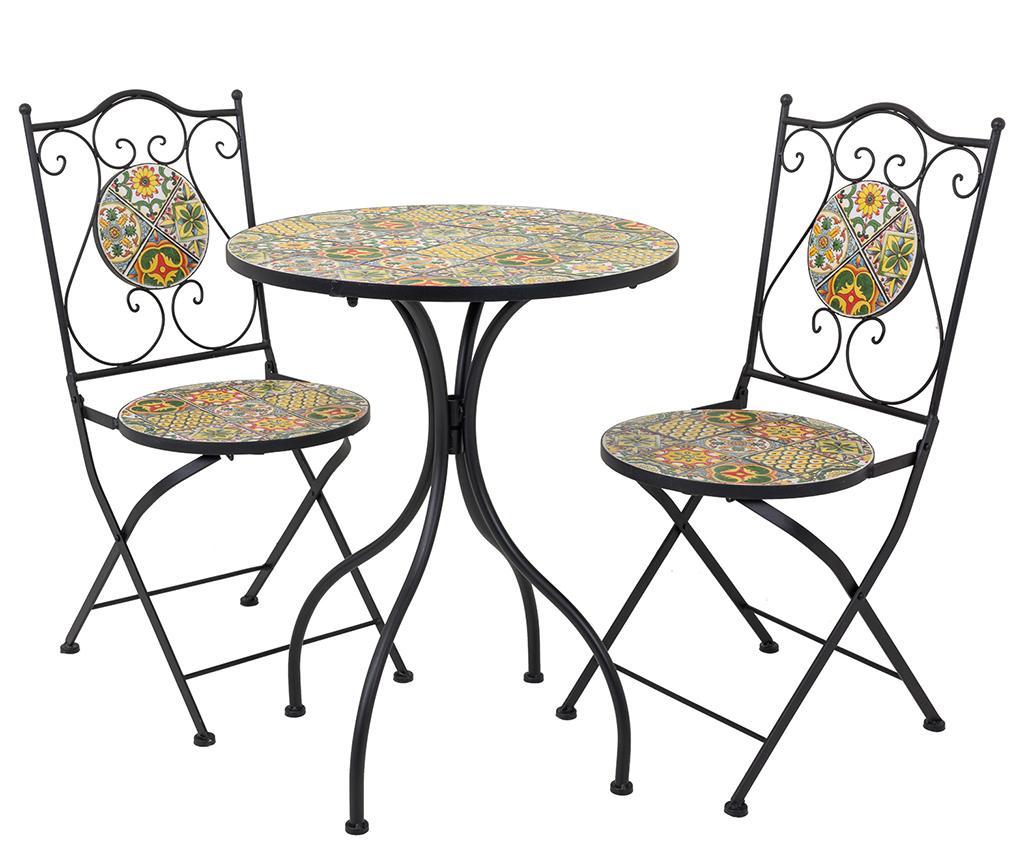 Set masa si 2 scaune pentru exterior Mosaic Tiles Multi