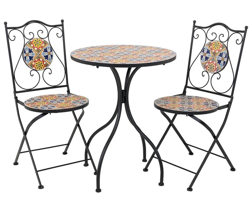 Set masa si 2 scaune pentru exterior Mosaic Multi Flowers