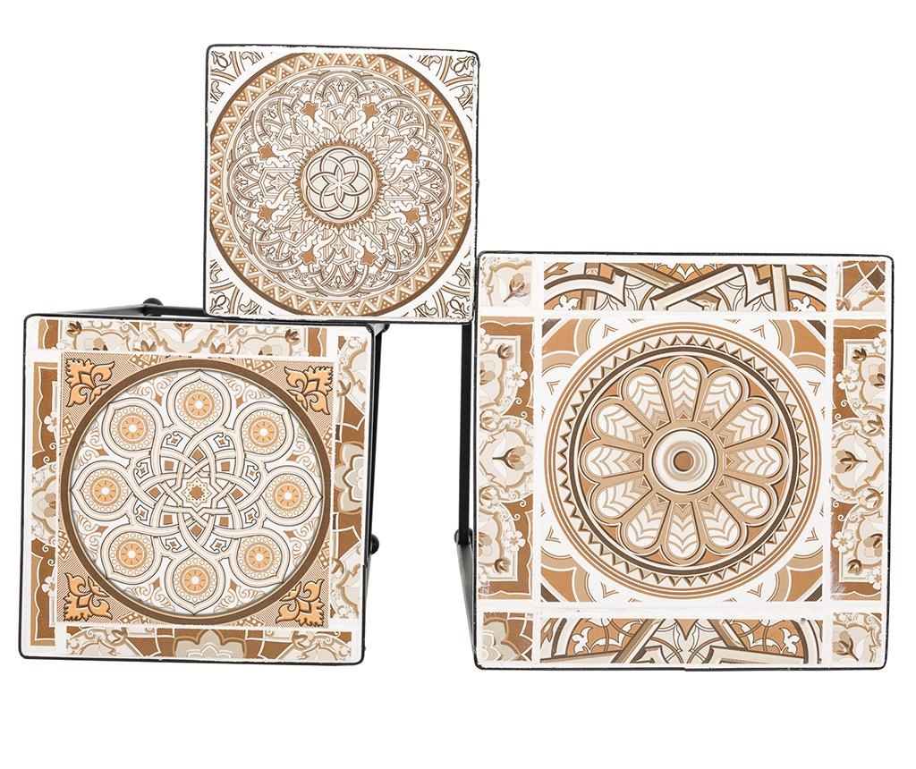 Set 3 suporturi pentru ghiveci Mosaic Cream