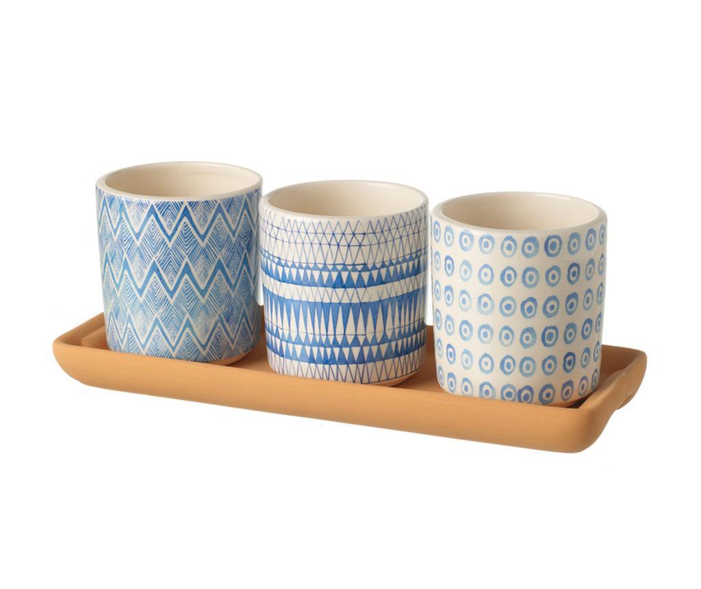 Set 3 cvetličnih loncev in pladenj Scandi Blue