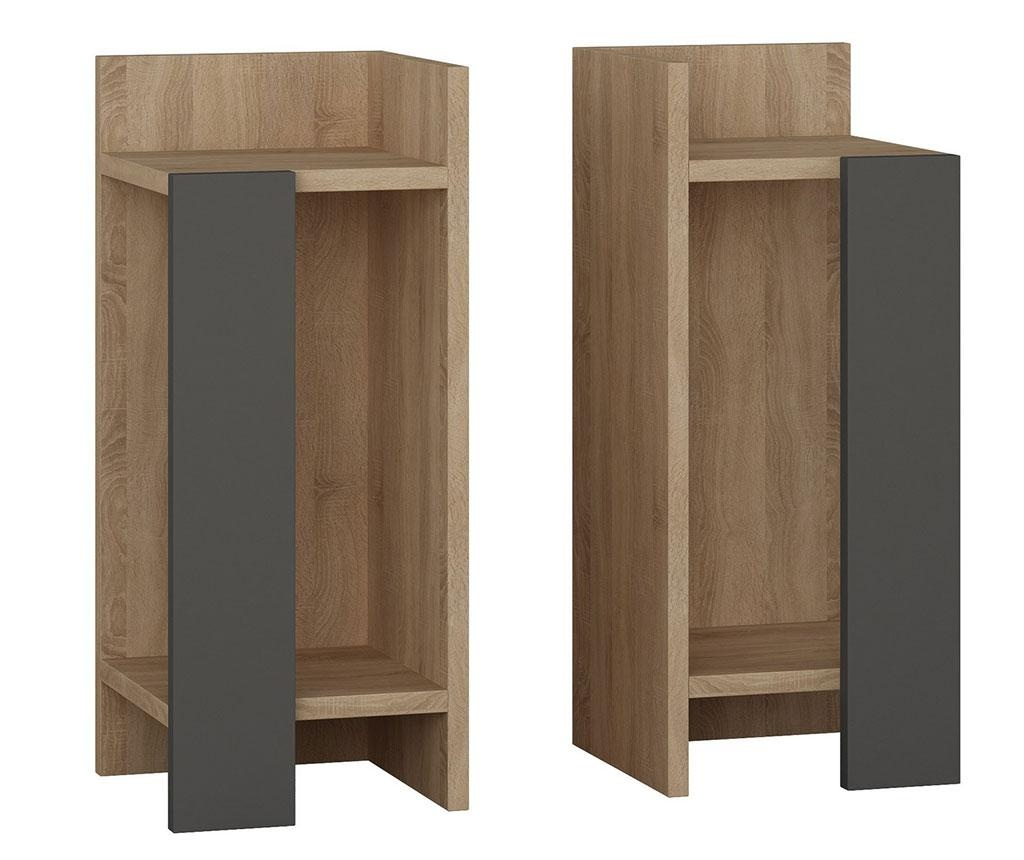 Set 2 nočnih omaric Erra Oak Anthracite