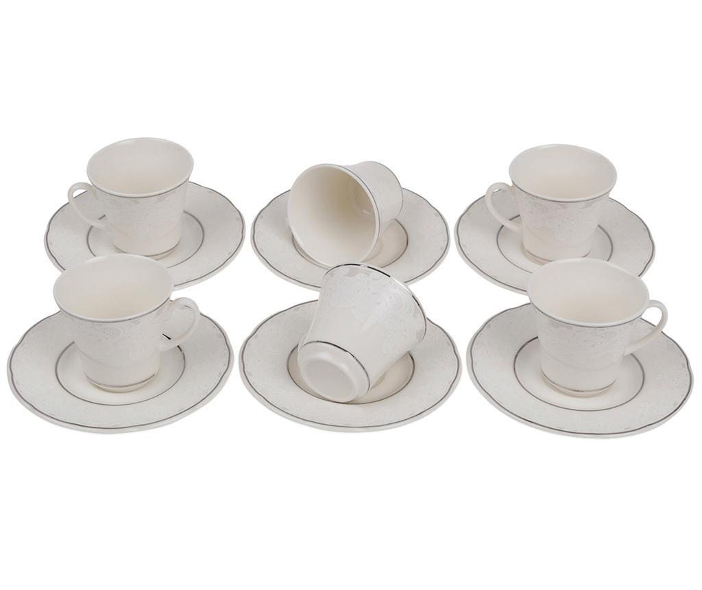 Sada 6 šálků a 6 podšálků Espresso Silver Butterflies