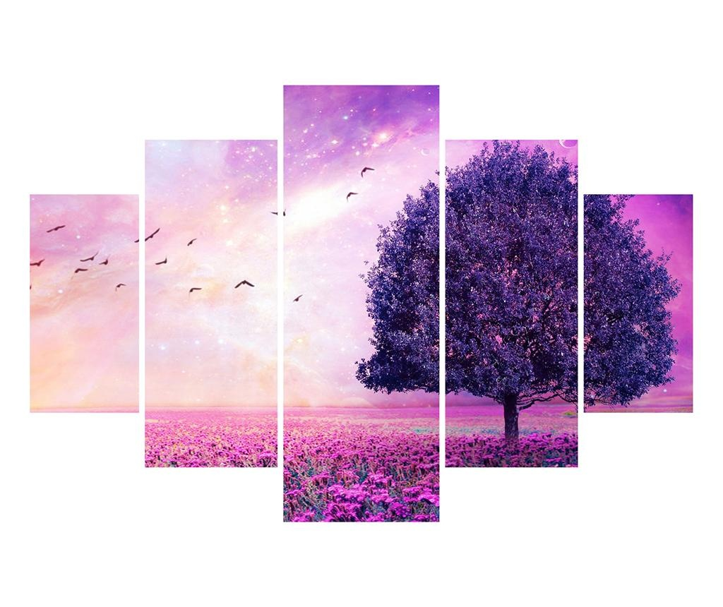Set 5 tablouri Purple Tree