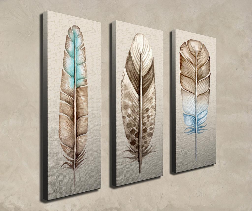 Set 3 slike Feather 20x70 cm