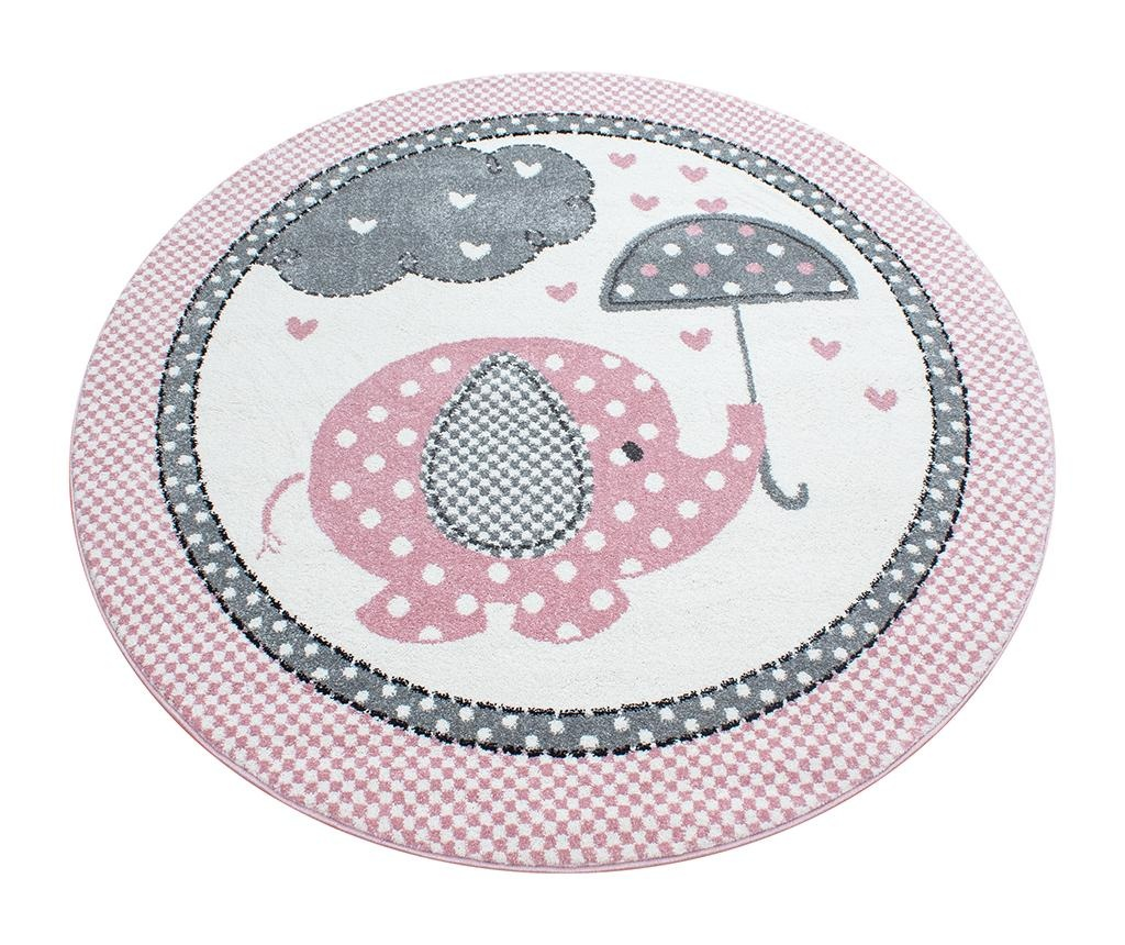Elephant Round Pink Szőnyeg 120 cm