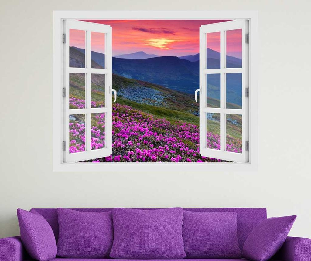 Стикер 3D Window Sunset Field