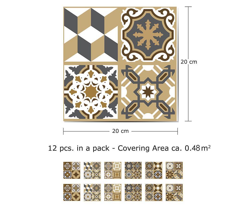 Set 12 stickere Tile Dark Bronze