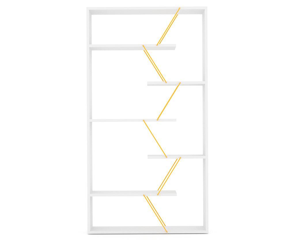 Knjižni regal Tars White Yellow