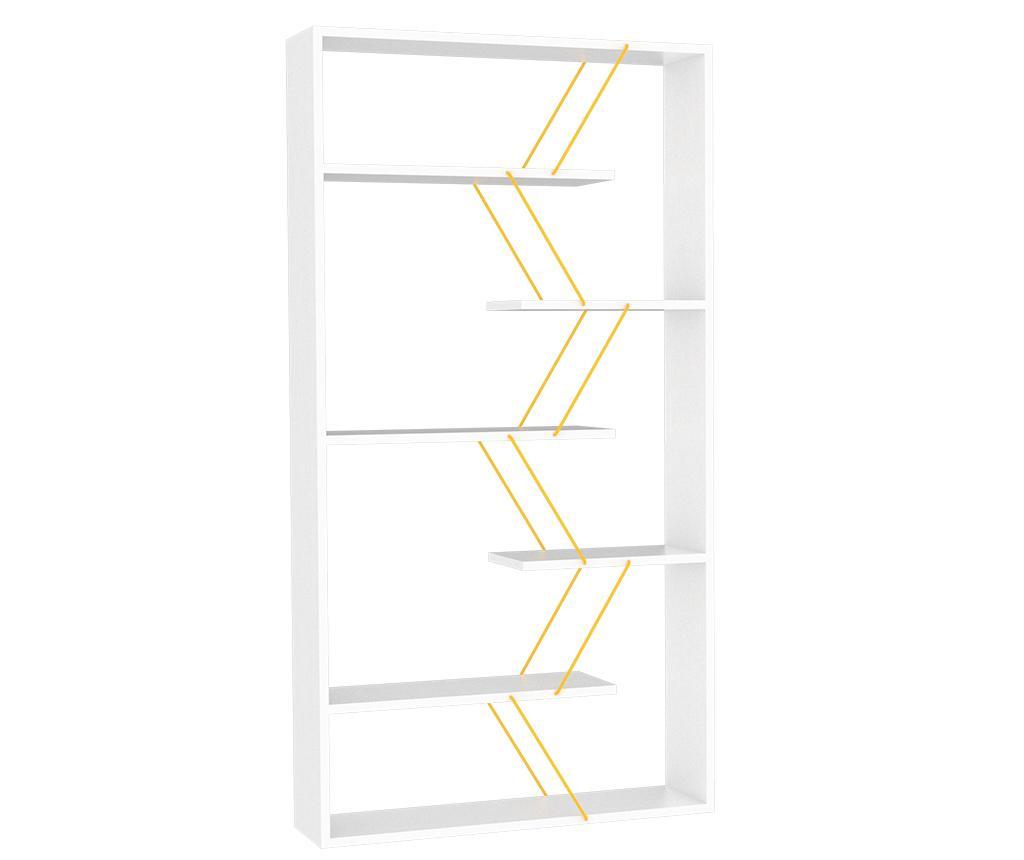 Regal za knjige Tars White Yellow