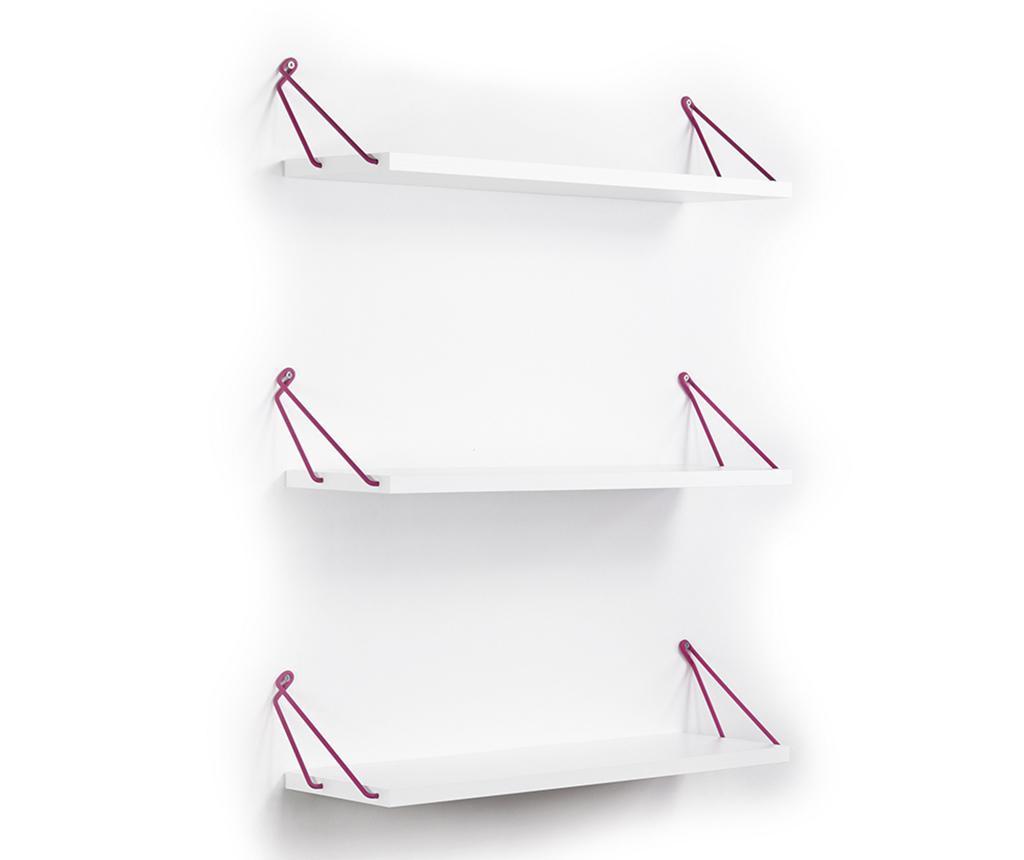 Set 3 rafturi de perete Altai White Pink