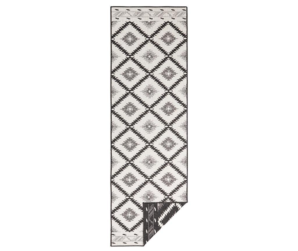 Obojestranska preproga Malibu Black Cream 80x250 cm
