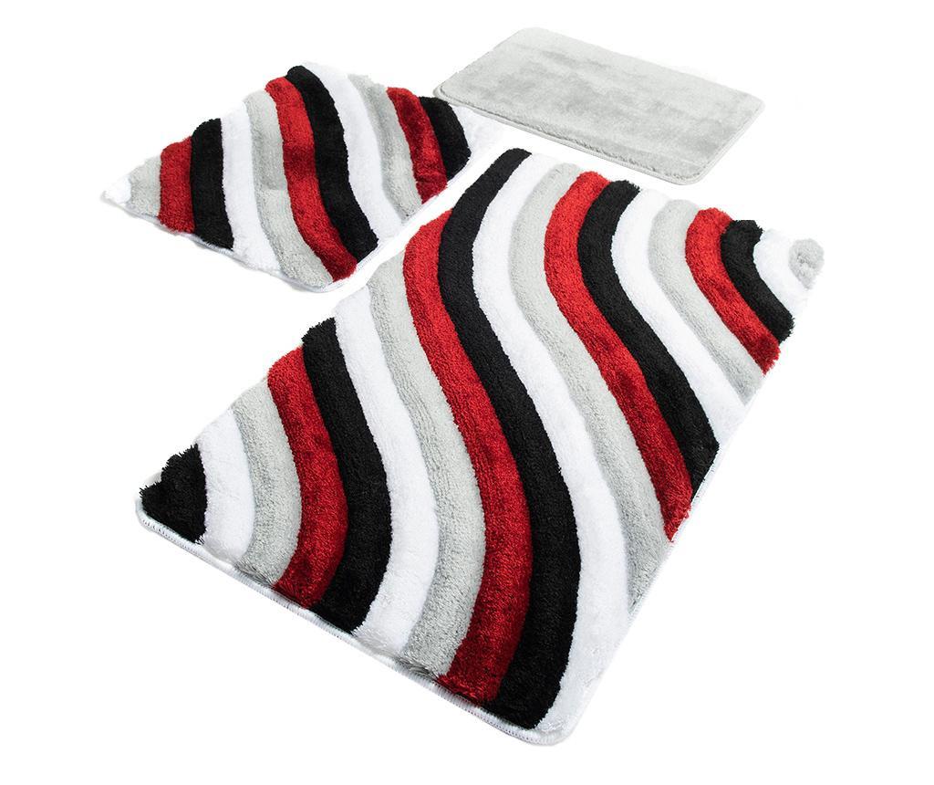Wavy Red 3 db Fürdőszobai szőnyeg