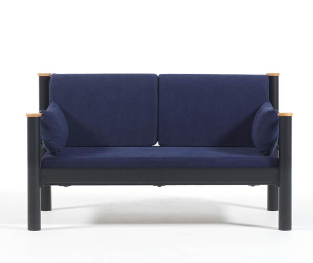 Canapea 2 locuri pentru exterior Kappis Black and Dark Blue